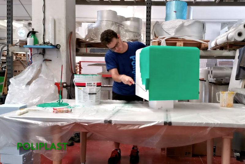 pouf tricolore polistirolo pesaro